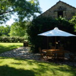 Terrace of the Large Cottage (Dordogne) in summer